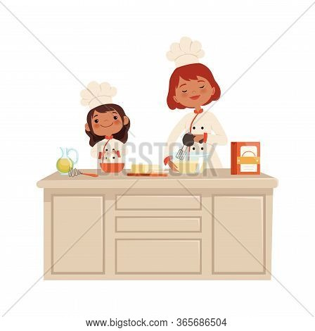 Culinary Workshop. Woman And Girl On Kitchen. Kid In Uniform Professional Chef Makes Food Vector Con