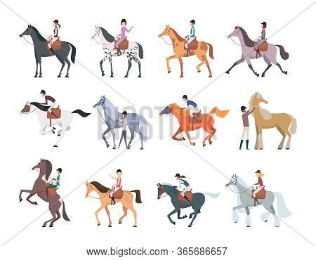 Horse Riders. Equestrian Sport People Sitting Walking On Strong Domestic Horses And Pony Persons Bre