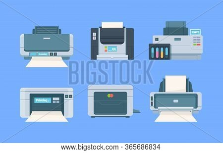 Printers. Documents And Photo On Papers Copy Machines For Printing House Vector Flat Illustration. P