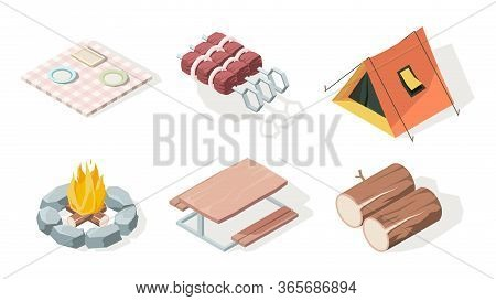 Picnic Isometric. Bbq Equipment Fire Camp Fresh Food And Items For Barbecue Party Vector Illustratio