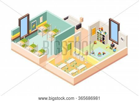 Kindergarten Interior. Playground Room Preschool Building With Kitchen Lessons Game Place And Bedroo