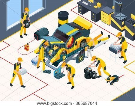 Car Service. Workers Mechanic Repairing Automobile Change Engine And Wheels In Garage Interior Vecto