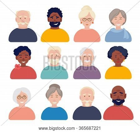 Old People Avatars. Elderly Characters Portraits Faces For Cv Or Id Documents Vector Flat Web Avatar