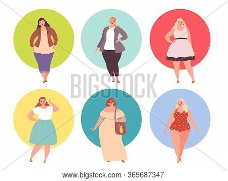 Plus Size Girls. Fat Woman Chubby In Large Clothing Vector Young People. Plump And Big Woman, Young