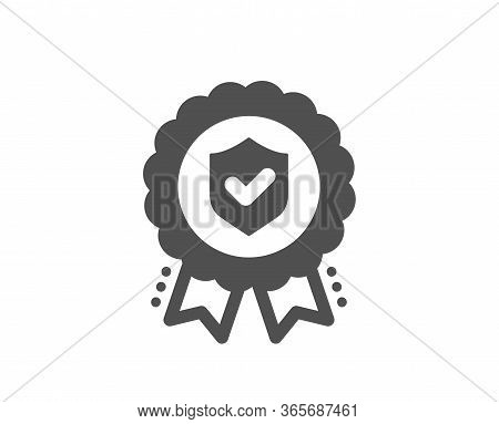 Insurance Medal Icon. Certified Risk Coverage Sign. Confirmed Protection Symbol. Classic Flat Style.