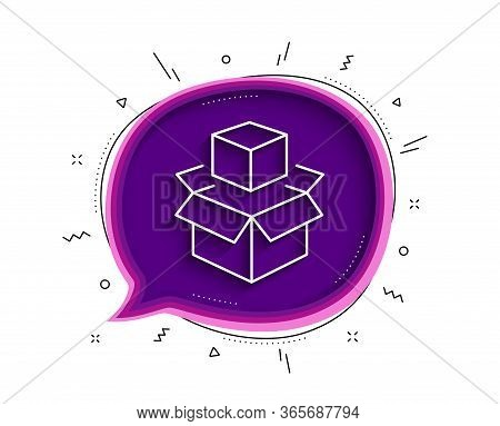 Box Line Icon. Chat Bubble With Shadow. Delivery Parcel Sign. Packing Boxes Symbol. Thin Line Packin