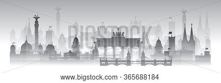 Horizontal Berlin Skyline Travel Illustration With Architectural Landmarks And Fog. Berlin Traveling