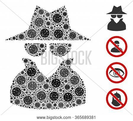 Mosaic Spy Composed Of Flu Virus Items In Random Sizes And Color Hues. Vector Viral Items Are Arrang