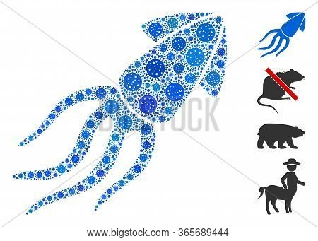 Collage Squid United From Flu Virus Icons In Random Sizes And Color Hues. Vector Pathogen Items Are