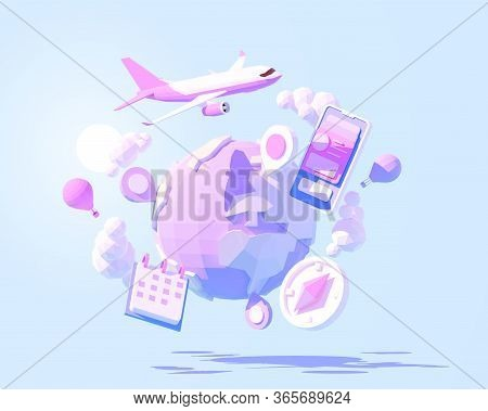 Vector Airplane Travel Around The World Illustration. International Air Travel Around The Planet. Gl