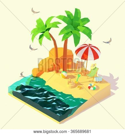 Vector Isometric Summer Beach Holidays Illustration. Beach Deck Chairs, Umbrella, Swim Ring, Sand Ca