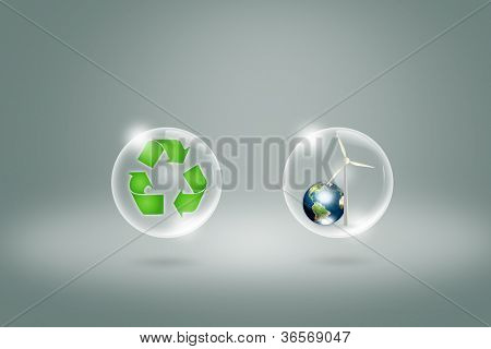 Eco concept : recycling symbol in bubble with earth and turbine  in bubble  (Elements of this image furnished by NASA)