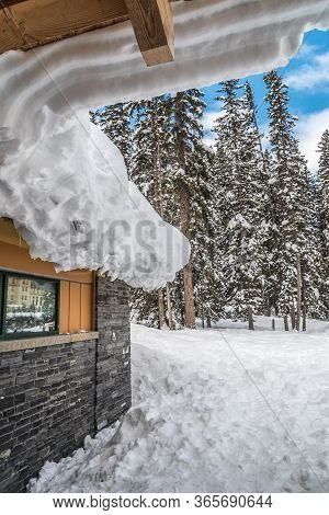 Small House In Snow, Lake Louise In Banff Park, Alberta, Canada
