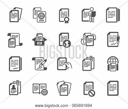 Documents Icons. Copy Files, Contract Agreement, Passport. Cv Interview, Documents Workflow, Attachm