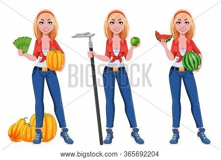 Happy Smiling Farm Girl, Set Of Three Poses. Beautiful Farmer Woman Cartoon Character Holding Money,