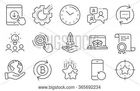 Set Of Technology Icons, Such As Online Delivery, Ranking Stars. Diploma, Ideas, Save Planet. Recove
