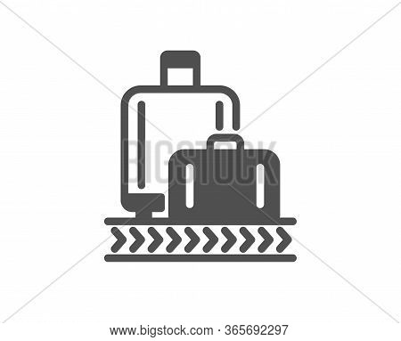 Airport Baggage Reclaim Icon. Airplane Luggage Lane Sign. Flight Checked Bag Symbol. Classic Flat St