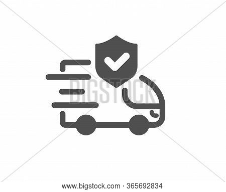 Transport Insurance Icon. Car Risk Coverage Sign. Delivery Protection Symbol. Classic Flat Style. Qu