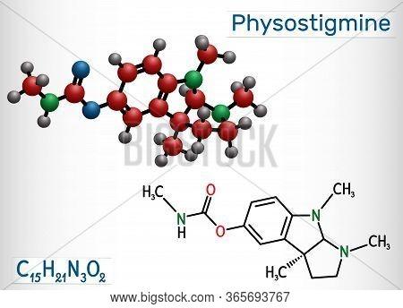 Physostigmine, Eserine, C15h21n3o2 Molecule. It Is Cholinesterase Inhibitor, Toxic Parasympathomimet