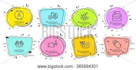 Graph Chart, Usb Stick And Anti-dandruff Flakes Signs. Speech Bubbles With Quotes. Drag Drop, Quick