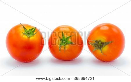 Close Up Fresh Tomatoes Isolate On White Background.