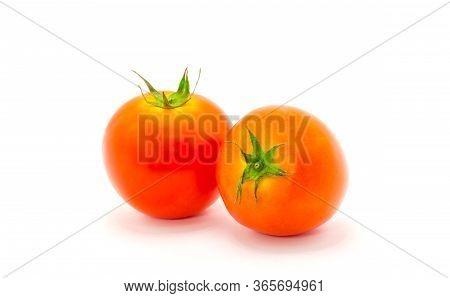 Fresh Tomatoes Isolate On White Background. Close Up