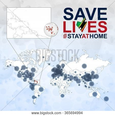 World Map With Cases Of Coronavirus Focus On Saint Kitts And Nevis, Covid-19 Disease In Saint Kitts