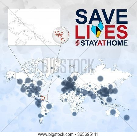 World Map With Cases Of Coronavirus Focus On Saint Lucia, Covid-19 Disease In Saint Lucia. Slogan Sa