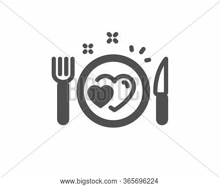 Romantic Dinner Icon. Valentines Day Food Sign. Couple Relationships Symbol. Classic Flat Style. Qua