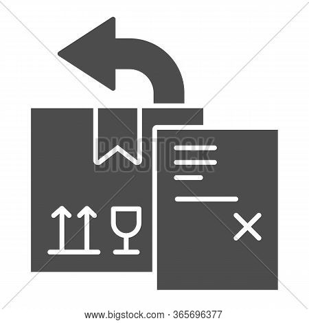 Return Delivery Box With Report Document Solid Icon, Delivery And Logistics Symbol, Shipping Box Wit