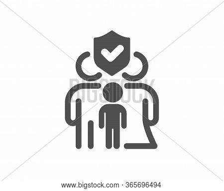 Family Insurance Icon. Health Coverage Sign. Life Protection Policy Symbol. Classic Flat Style. Qual