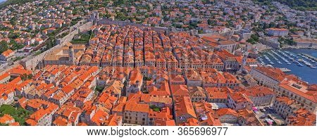 Aerial Drone Stiched Panorama Of The Dubrovnik Main Street Stradun With All The Famous Sights Around