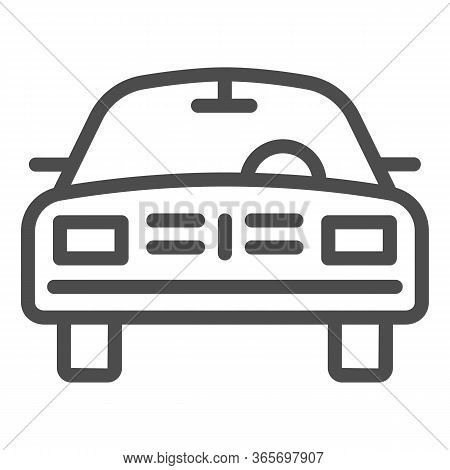 Car Line Icon, Transport Symbol, Passenger Automobile Vector Sign On White Background, Auto Icon In