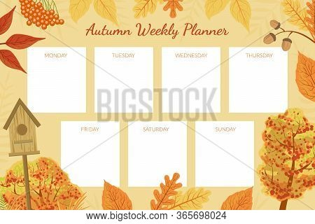 Autumn Weekly Planner Template, Week Calendar Schedule With Bright Autumnal Leaves Vector Illustrati