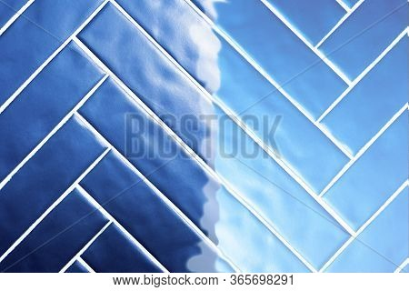 Blue Tiles, Dark Blue Tiles Overflowing To Light Blue Background Texture Retro Design Modern