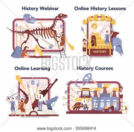 History Online Education Service Or Platform Set. History School Subject