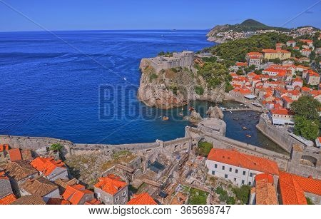 Dubrovnik, Croatia - July 13 2019: Aerial Panorama Of The Fortress Lovrijenac Or St. Lawrence Fortre