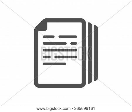 Copy Documents Icon. Doc File Duplicates Sign. Office Note Symbol. Classic Flat Style. Quality Desig