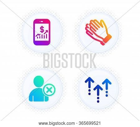 Clapping Hands, Mobile Finance And Delete User Icons Simple Set. Button With Halftone Dots. Swipe Up