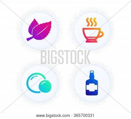 Mint Leaves, Peas And Espresso Icons Simple Set. Button With Halftone Dots. Whiskey Bottle Sign. Men