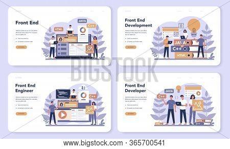Frontend Development Web Banner Or Landing Page Set. Website