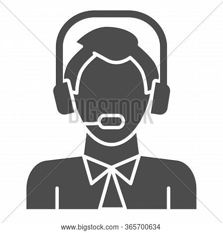 Man With Headphones And Microphone Solid Icon, Logistic And Delivery Symbol, Logistics Customer Supp