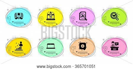Cogwheel, Laptop And Chemistry Lab Signs. Timeline Infographic. Analytics Graph, Ranking And Start B