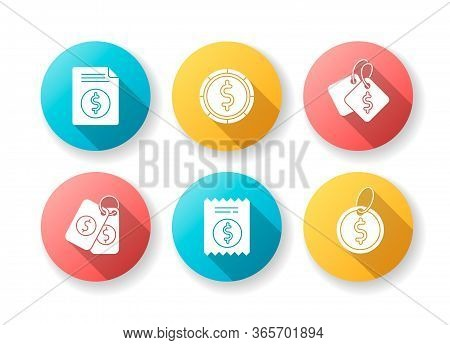Price Tags Flat Design Long Shadow Glyph Icons Set. Label For Purchased Merchandise. E Commerce And