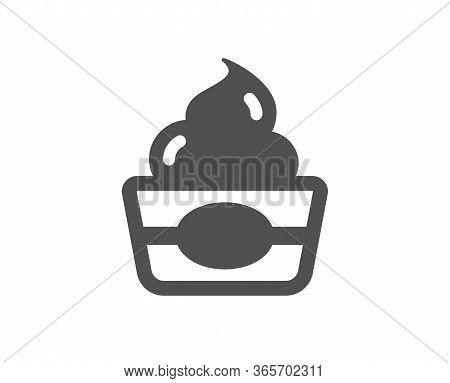 Ice Cream Cup Icon. Vanilla Sundae Sign. Frozen Yogurt Dessert Symbol. Classic Flat Style. Quality D