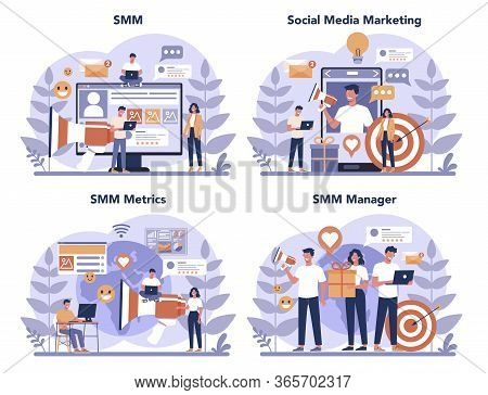 Smm Social Media Marketing Concept Set. Advertising Of Business
