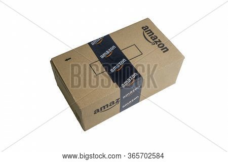 Kuala Lumpur, Malaysia - April 1, 2020 : Amazon Prime Box Or Amazon Shipping Box On White Background