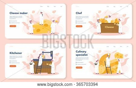 Cheese Maker Concept Web Banner Or Landing Page Set. Professional