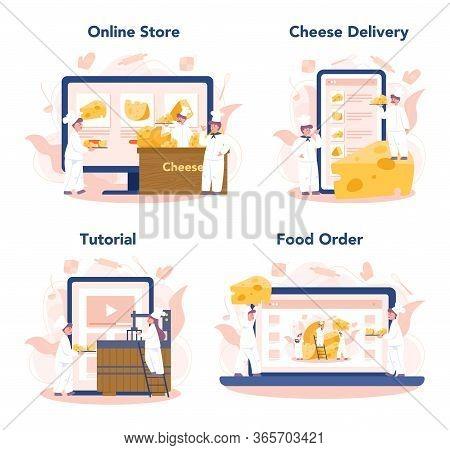 Cheese Maker Concept Online Service Or Platform Set. Professional Chef