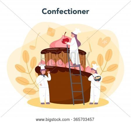 Confectioner. Professional Confectioner Chef. Sweet Baker Cooking